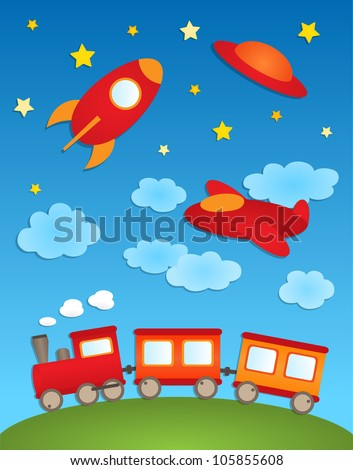 Background with aircrafts and train. Vector paper stickers - stock vector