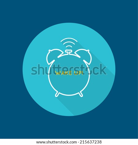 Background with alarm clock. The concept of early awakening. morning  wake up and deadline. vector icon with a long shadow. flat design - stock vector