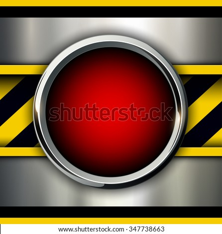Background with alarm red button and warning stripes, vector illustration.