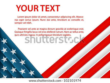 background with American flag in plastic style - stock vector
