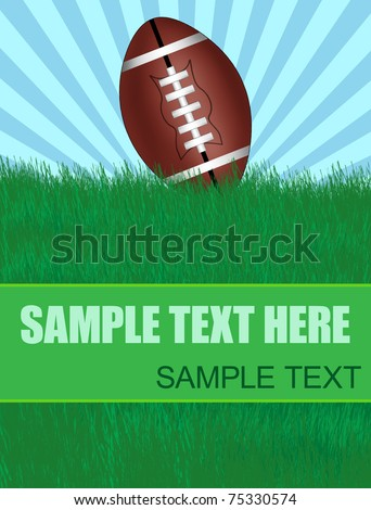 Background with american football ball on green grass with copy-space, vector illustration - stock vector