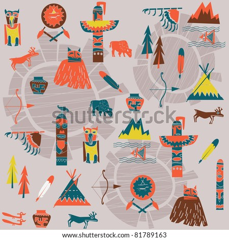 background with American Indians - stock vector