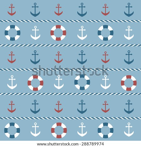 background with anchors and lifebuoys - stock vector