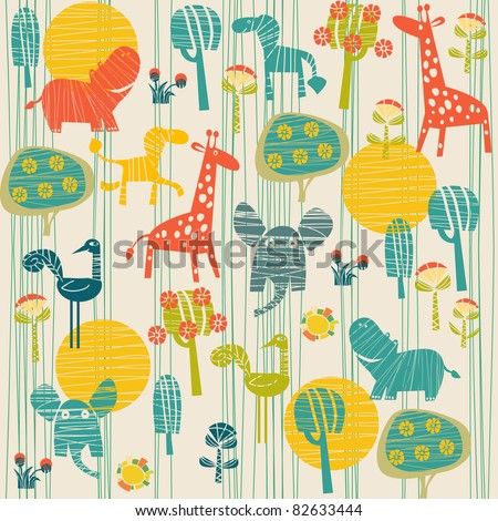 background with animals - stock vector