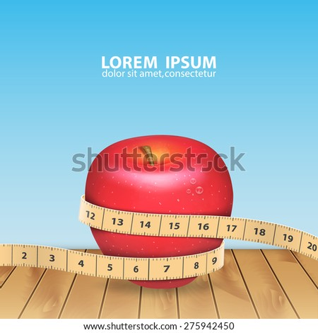 Background with apple and tape measure. High quality vector. EPS10 vector - stock vector