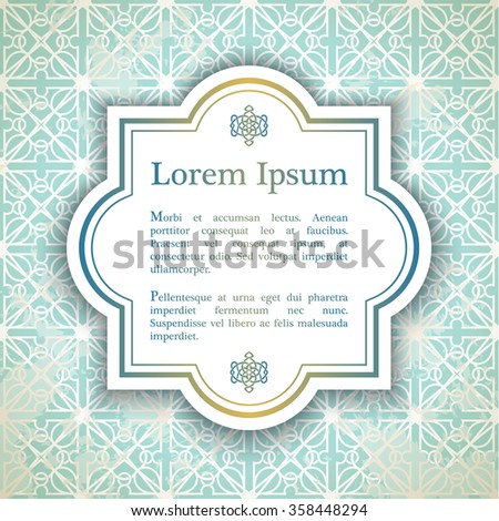 Background with arabesque decor - girihlpattern in blue color - stock vector