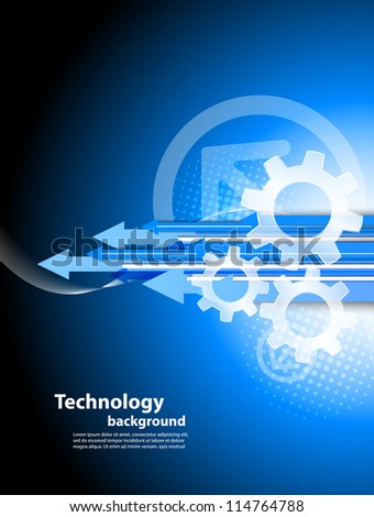 Background with arrows and gears - stock vector