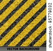 Background with asphalt road texture and hazard stripes. - stock vector