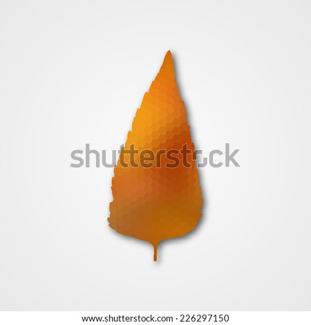 Background with autumn leaf of hexagons. Vector illustration - stock vector