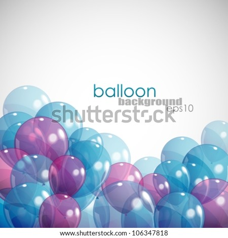 background with balloons - stock vector