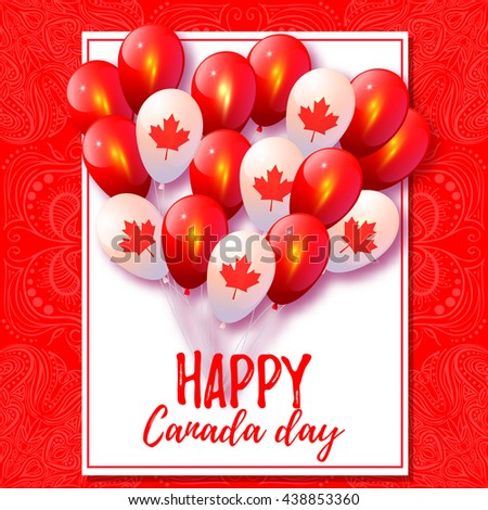 Background with balloons in national colors of the Canada. Vector card for Canada Day. Red and white balloons with maple leaves. Happy Canada Day. Canadian design - stock vector