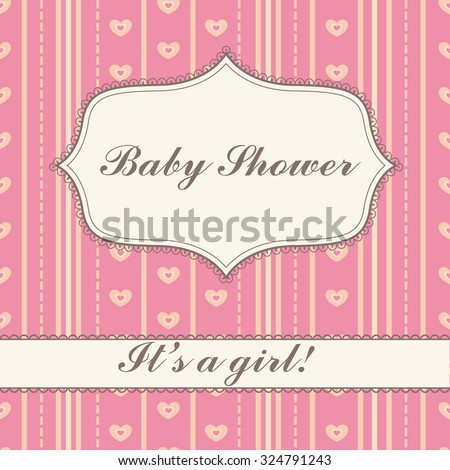 Background with banner baby shower girl vintage