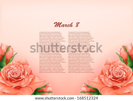 background with beautiful pastel roses,may be used as a Women's Day backdrop - stock vector
