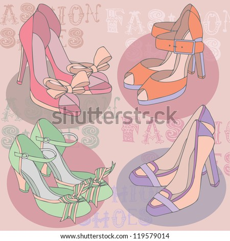 Background with beautiful shoes fashion design - stock vector