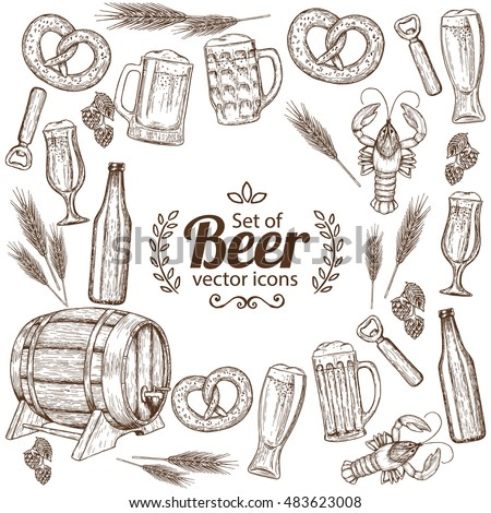 Background with beer icons. Sketch style illustration of beer for vintage decorations of pub or bar menu. Vector.