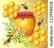 Background with bees and honey jar - stock vector