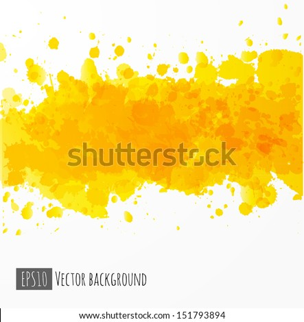 Background with big yellow splash. Vector illustration.