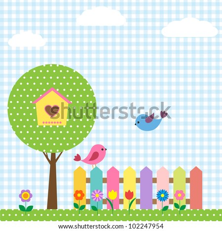 Background with birds and birdhouse - stock vector