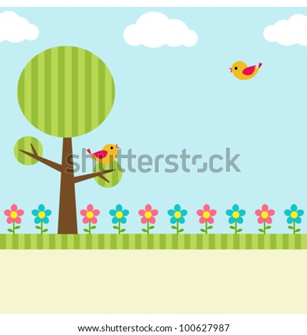 Background with birds, flowers and tree
