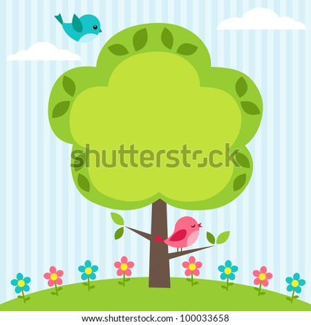 Background with birds, flowers and tree with place for text - stock vector