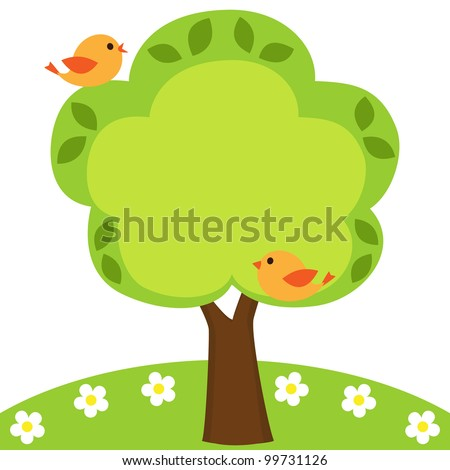Background with birds, flowers and tree with place for your text