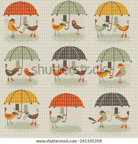 background with birds under umbrellas - stock vector