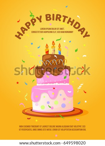 Background Birthday Cake Candles Vector Illustration Stock Vector HD
