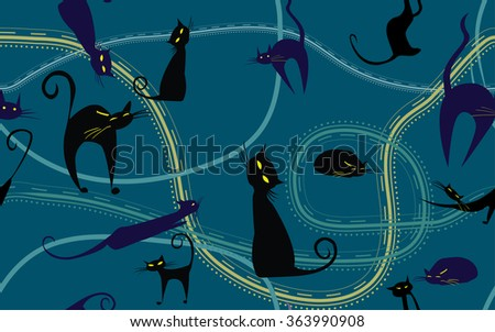 background with black cats vector texture - stock vector