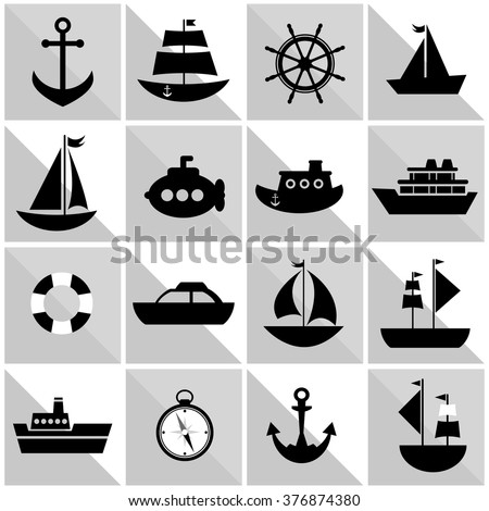 background with black sea transport - stock vector