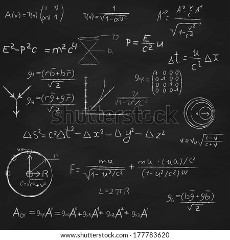 Background with blackboard, with relativity and string theory equations, formulas and hand drawings. - stock vector
