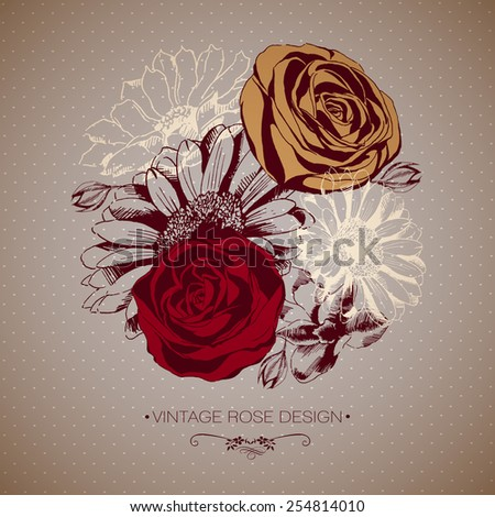 Background with blooming hand-drawn flowers. Vector - stock vector