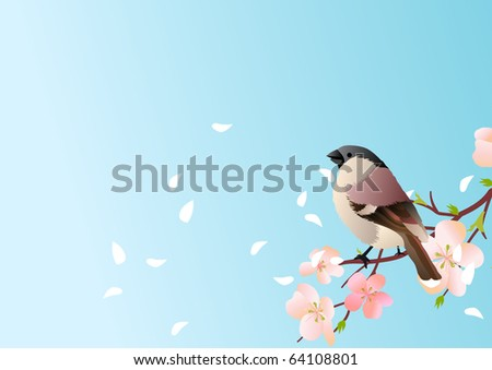 Background with blossom and bird - stock vector