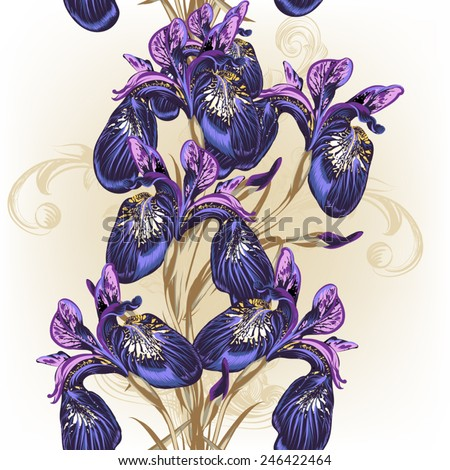Background with blue and purple irises for design - stock vector