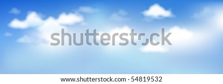 Background With Blue Sky And Clouds - stock vector
