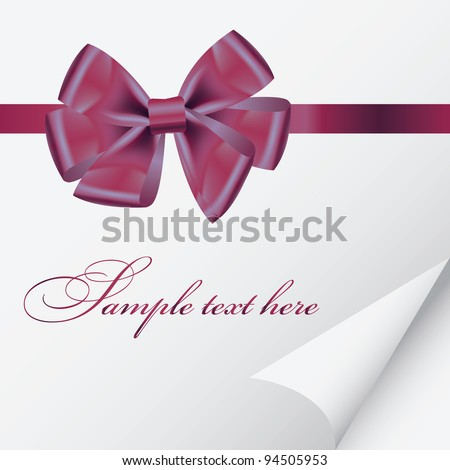 background with bow on realistic paper vector illustration - stock vector