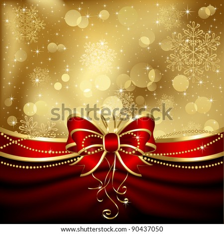 Background with bow, stars and blurry light, illustration - stock vector