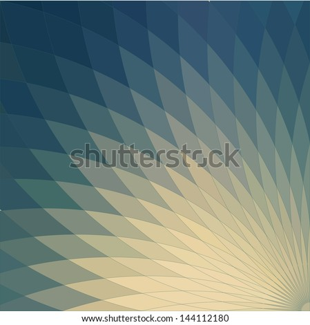 Background with bright blue geometric flower. Flow  spectral light. - stock vector