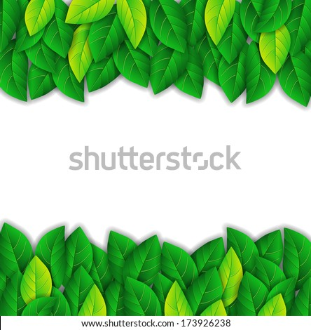 background with bright green leaves - stock vector