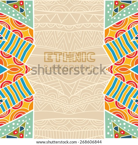 Background with bright tribal border. Abstract background with ethnic pattern. Colorful frame. Copy space. Template for greeting card, invitation or poster. Vector file is EPS8. - stock vector