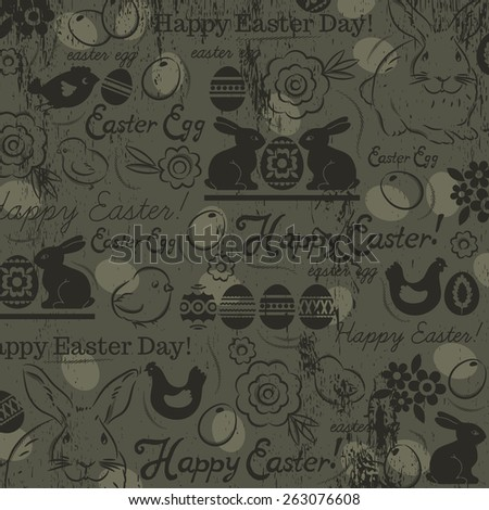 Background with bunny, easter eggs, flower, chicks, hen and  greetings text Happy Easter. Easter card. Decorative composition suitable for invitations, greeting  cards, flyers, banners. - stock vector