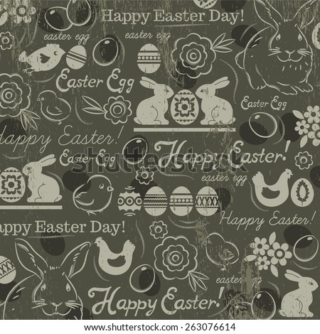 Background with bunny, easter eggs, flower, chicks, hen and  greetings text Happy Easter. Easter card Decorative composition suitable for invitations, greeting  cards, flyers, banners. - stock vector