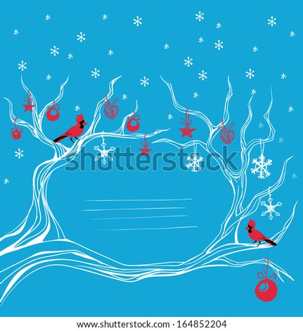 Background with  cardinal bird siting on brunch.  - stock vector