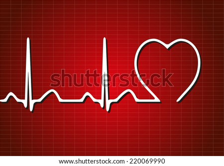 Background with cardiogram, vector illustration - stock vector