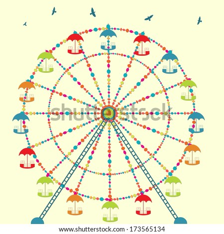 Background with carnival ferris wheel, carousel in amusement park - stock vector