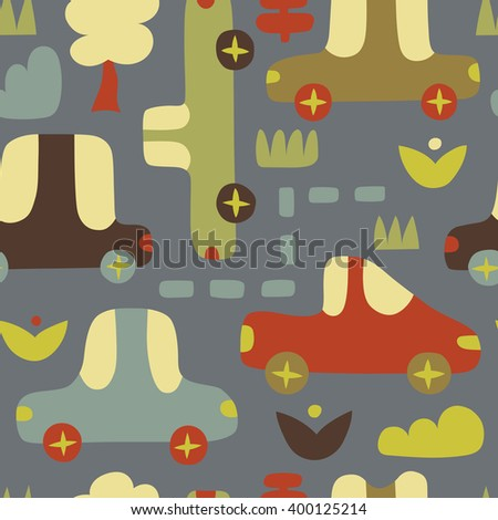Background with cars in retro style. Cartoon cars on seamless vector pattern - stock vector