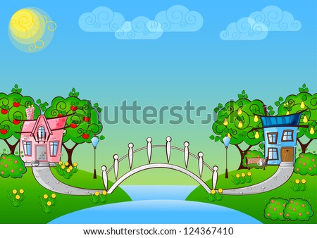 background with cartoon houses in love and a bridge over the river - stock vector