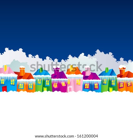 background with cartoon village houses in winter in the snow and Christmas theme at the end of the year and New Year's Eve, pf, xmas - stock vector