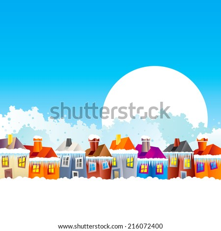Background with cartoon village houses in winter in the snow and Christmas theme at the end of the year and New Year's Eve - stock vector
