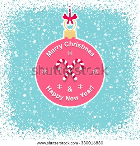 Background with Christmas ball and felicitation - stock vector