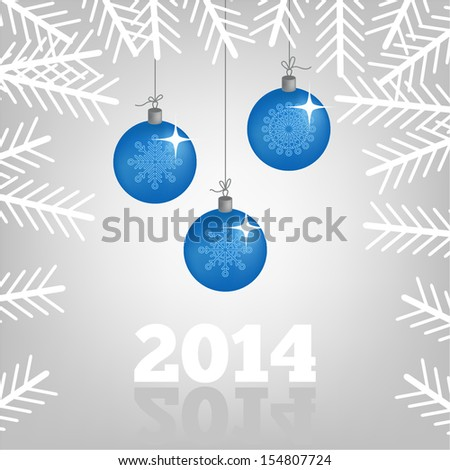 Background with Christmas balls and spruce branches